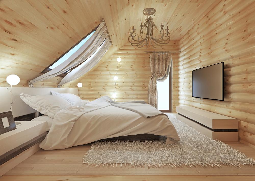 chambre avec des cloisons en bois